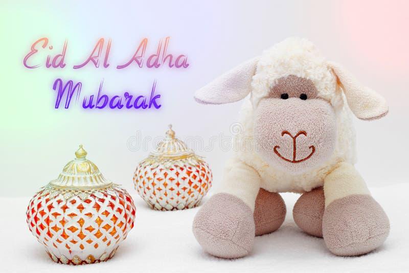 Greeting card on white background. Eid Al Adha sacrifice festival, Islamic Arabic candles and sheep. Eid al adha mubarak means ha. Greeting card on white stock photos