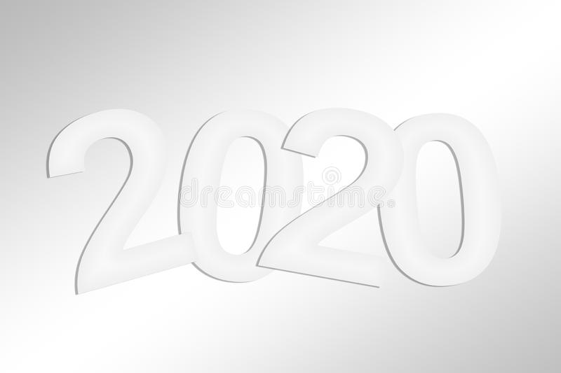 2020 greeting card with white cut paper royalty free illustration