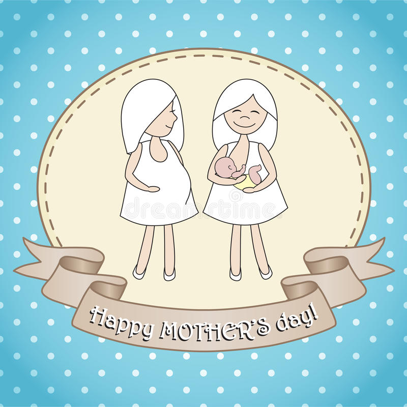 Greeting card whith two women. royalty free illustration