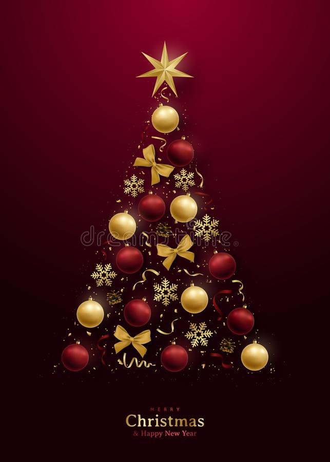 Free Greeting Card With 3d Christmas Tree On Dark Red Background. Stock Photography - 164031902