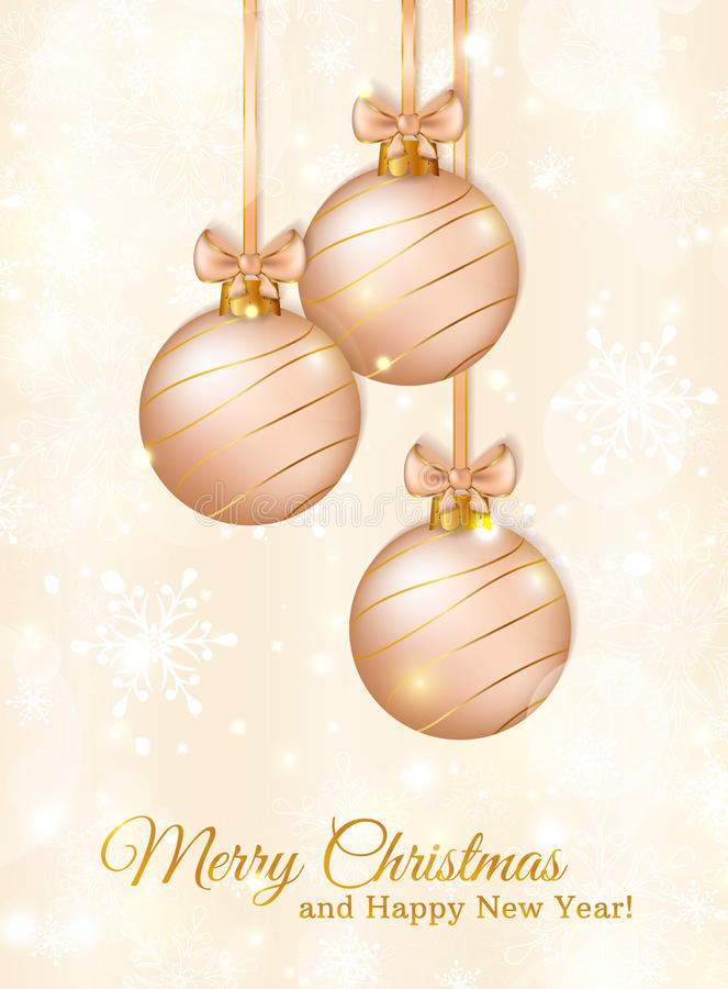 Free Greeting Card With Christmas Balls. Vector Illustration. Royalty Free Stock Images - 46519489