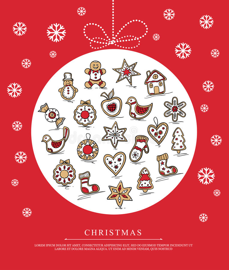 Free Greeting Card With Christmas Gingerbreads Stock Photos - 46631313
