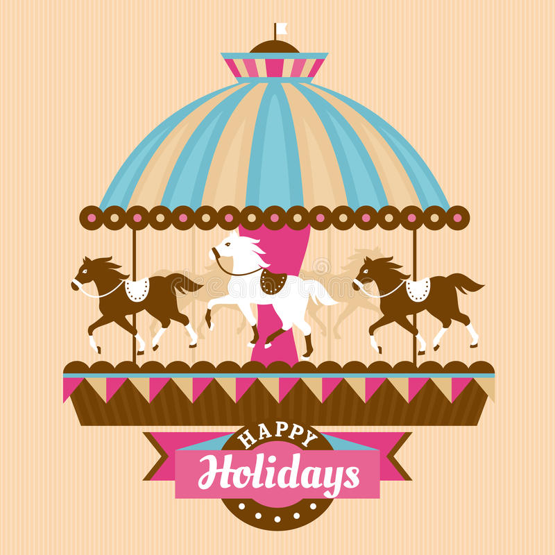 Free Greeting Card With Merry-go-round Stock Image - 35394971