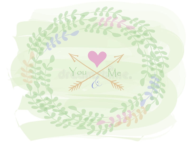 Greeting card with wreath. Romantic greeting card made of wreath, arrows and heart. Invitation for Wedding, bridal shower, birthday party. Valentine Day design stock illustration