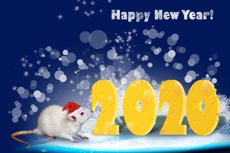 Greeting card for 2020. Year of the Rat. Happy new year 2020! New Year card design royalty free illustration