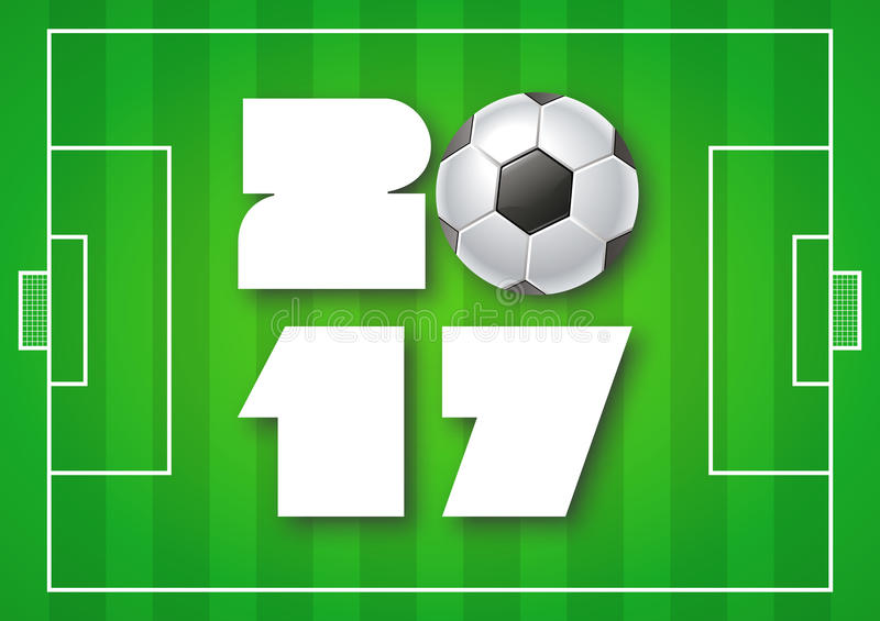 Greeting card for 2017 Year with soccer ball on bright green background. Sport, football, games theme. vector illustration