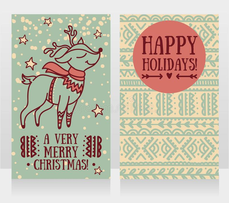 Greeting cards for christmas with cute christmas deer in sweater. Vector illustration royalty free illustration