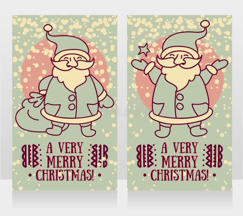 Greeting cards for christmas with cute happy Santa Claus royalty free illustration