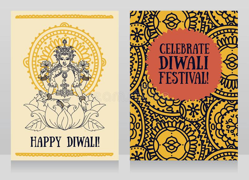 Greeting cards for diwali festival with indian goddess lakshmi stock download greeting cards for diwali festival with indian goddess lakshmi stock vector illustration of idol m4hsunfo