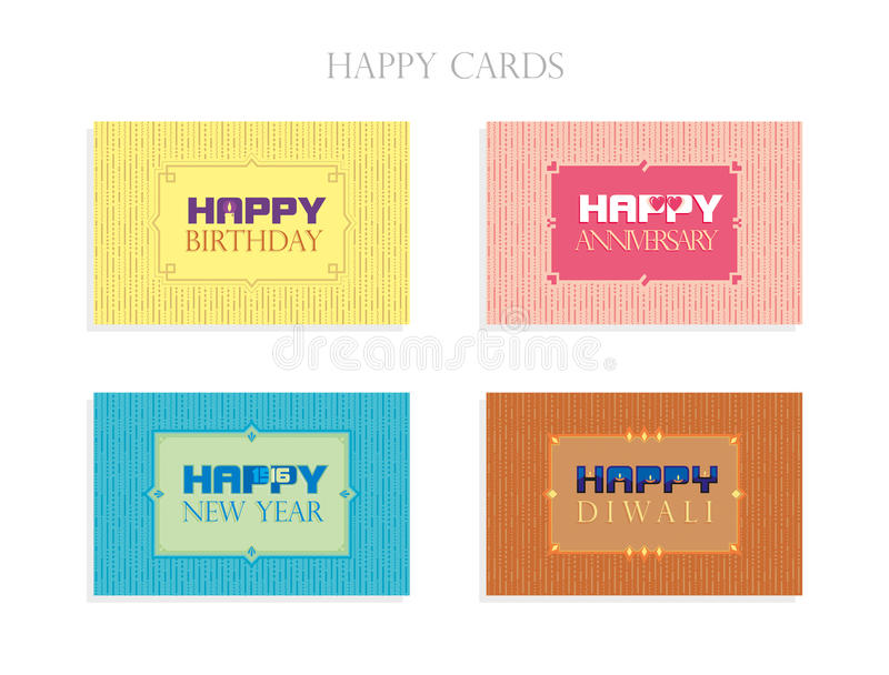 Greeting Cards - Happy Cards. Greeting Cards for Birthday, Anniversary, New Year and Diwali royalty free illustration
