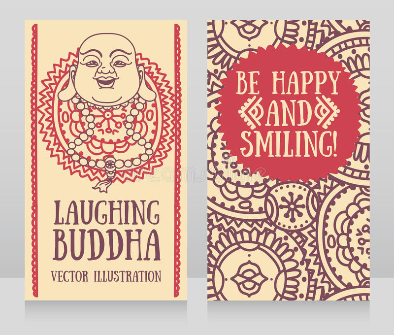 Greeting cards with head of laughing buddha stock vector download greeting cards with head of laughing buddha stock vector illustration of happy hotei m4hsunfo