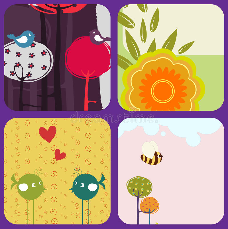 Download Greeting Cards With Retro-style Birds And Trees Stock Vector - Image: 19069748