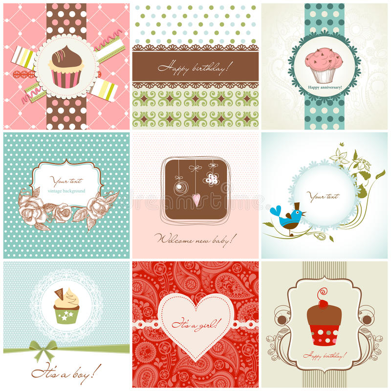 Download Greeting cards set stock vector. Illustration of arrival - 23117217