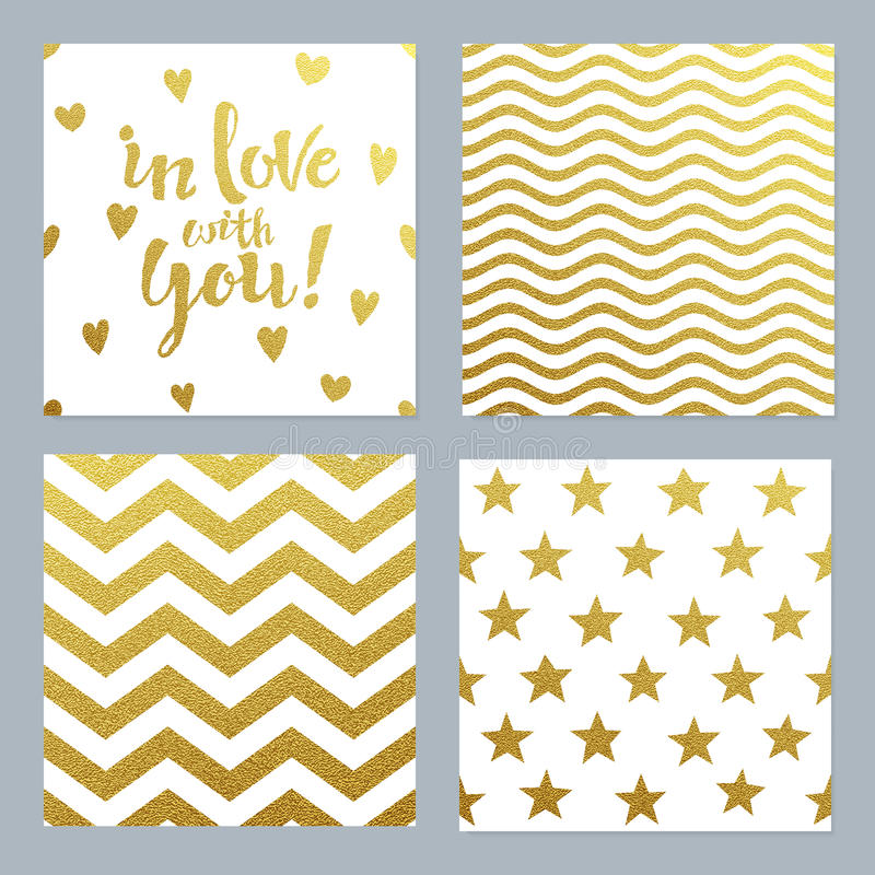 Greeting cards set of confetti gold glitter background vector illustration