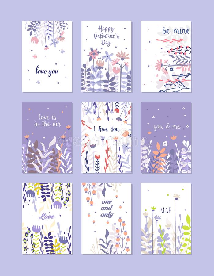 Greeting cards set, trendy cards for valentines day, birthday, anniversary, invitation, hand drawn vector Illustrations royalty free illustration