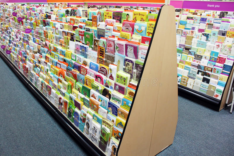 Greeting cards in store stock photos