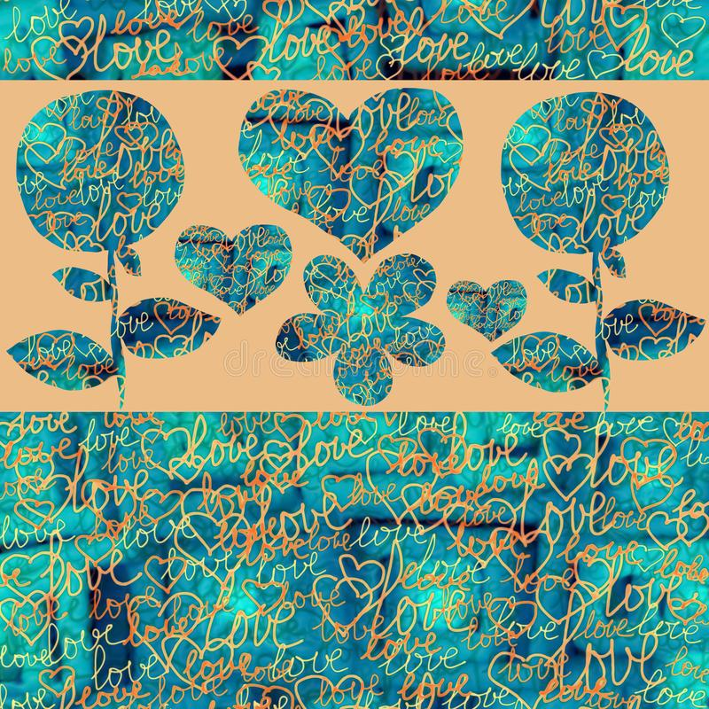 Abstract Collage hearts and flowers on a color background. stock illustration