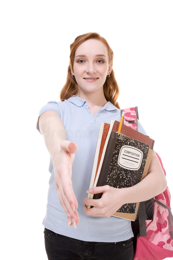Greeting Caucasian college student with backpack royalty free stock images