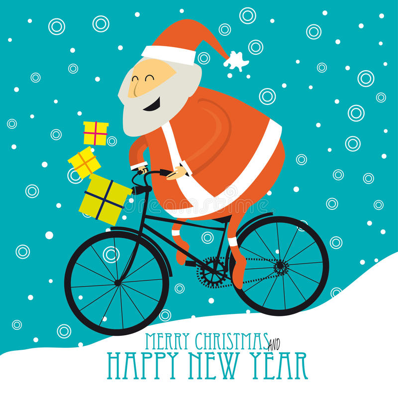 Greeting Christmas Card with Cute Santa stock illustration