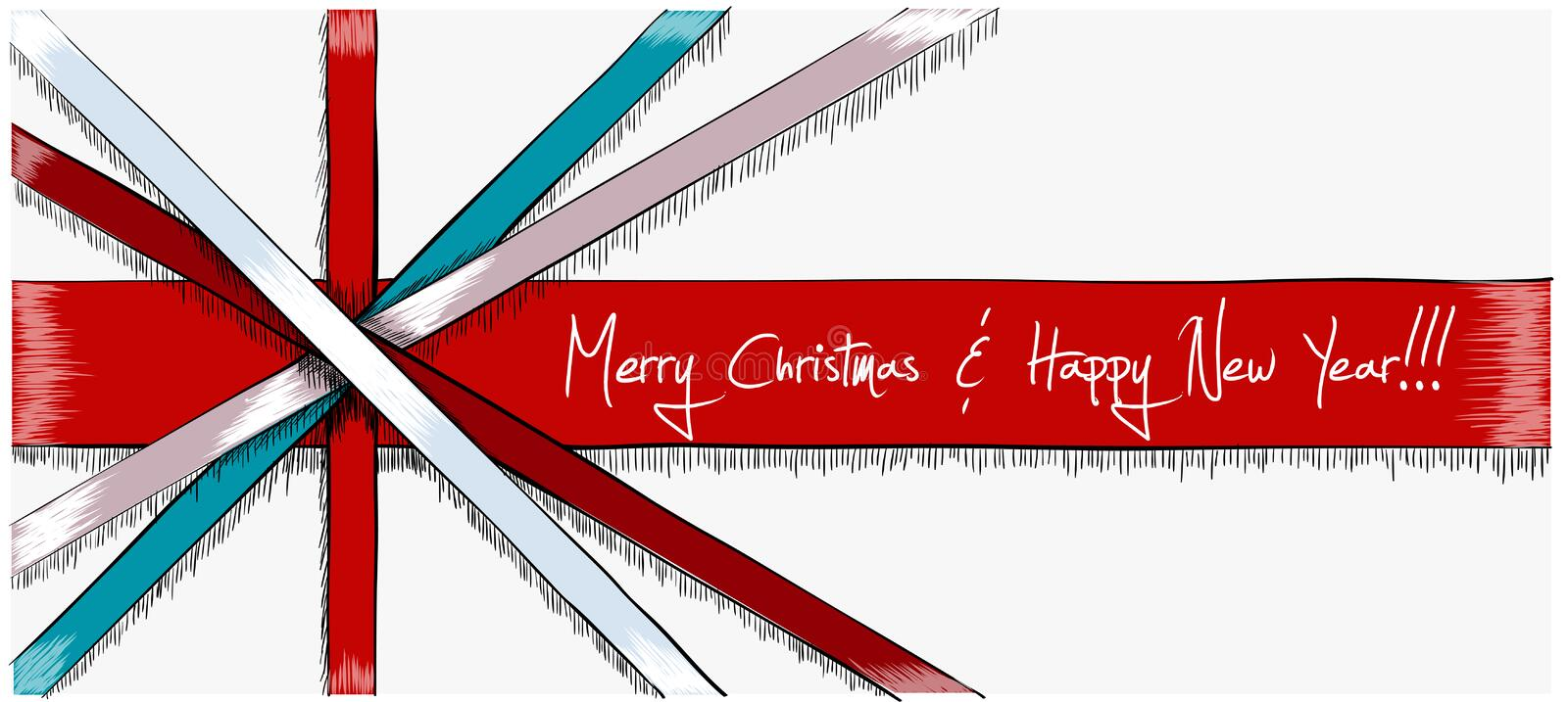 Greeting Christmas Card drawn in sketch style stock photography