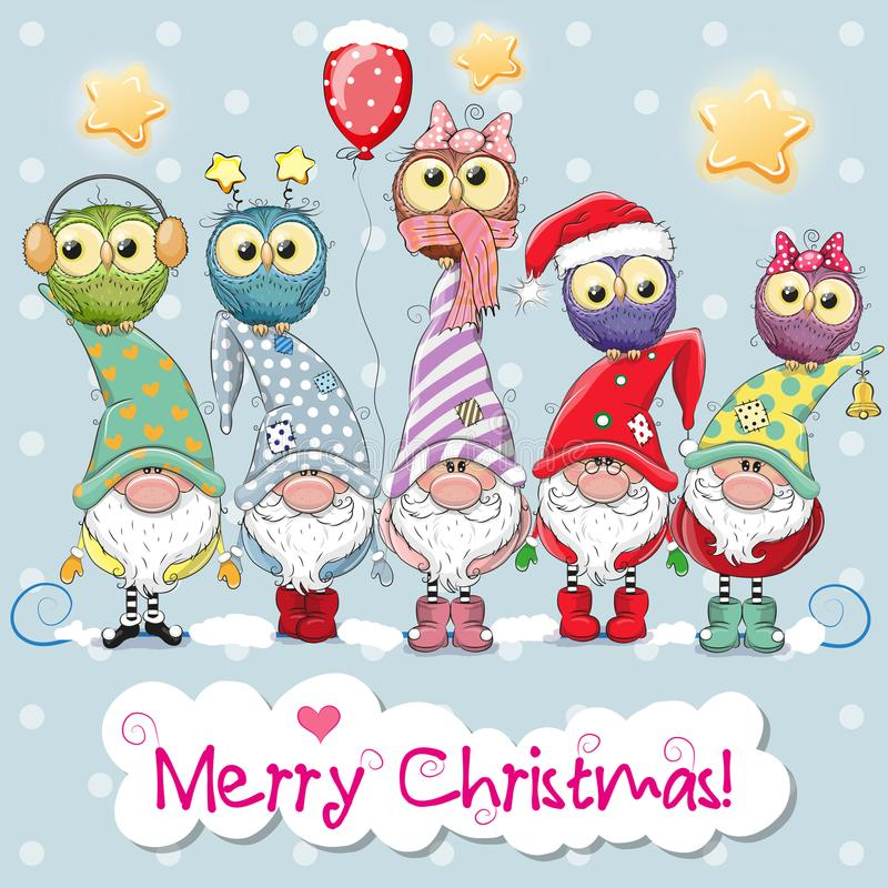 Five Gnomes and five owls. Greeting Christmas card with Five Gnomes and five owls royalty free illustration