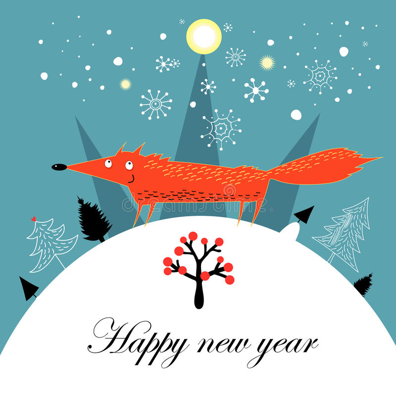 Greeting Christmas card with a fox stock illustration