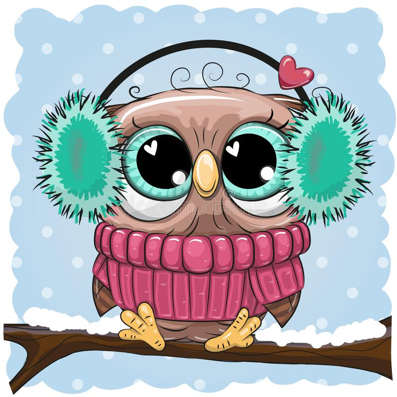 Greeting Christmas card wih Owl on a branch. In a fur headphones vector illustration