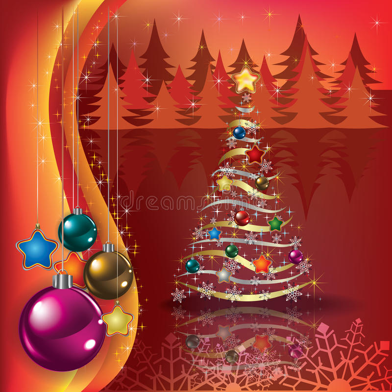 Greeting with Christmas tree and decorations stock illustration