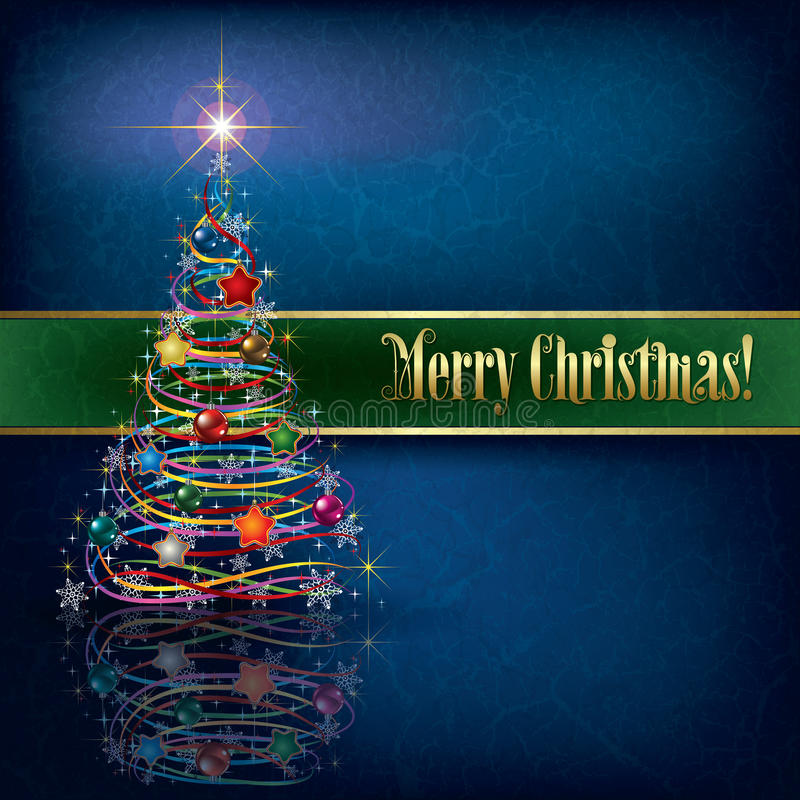 Greeting with Christmas tree on grunge background vector illustration