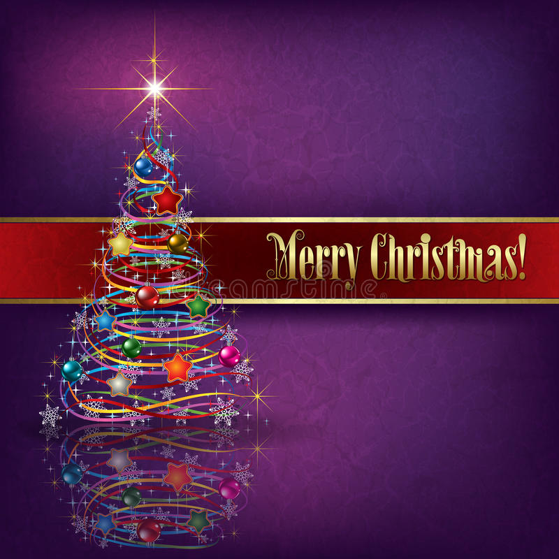 Greeting with Christmas tree on grunge background royalty free illustration