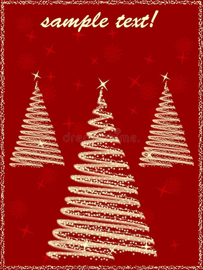 Greeting cristmas cars with three christmas trees