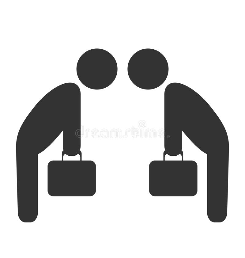 Greeting etiquette business situation icon isolated on white royalty free illustration