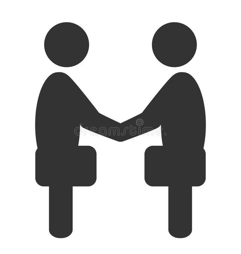 Greeting etiquette business situation icon isolated on white. Greeting business handshake situation icon isolated on white background royalty free illustration
