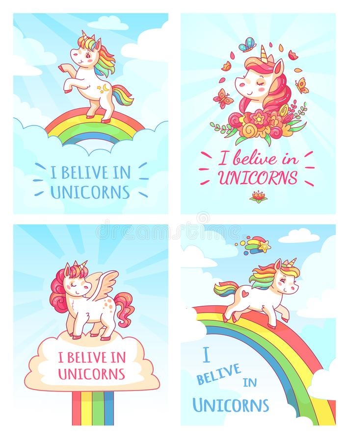 Greeting card writing design for girl with slogan I believe in unicorns . Rainbow colorful unicorn poster print vector stock illustration