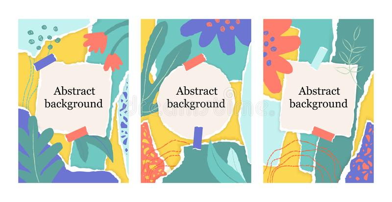 Summer set of floral background with colorful torn paper pieces, chalk line, square and round note. vector illustration