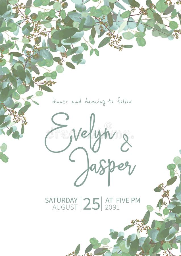 Greeting festive flyer, holiday card, vector. Elegant floral, greenery, semicircle collection. Bouquet of eucalyptus spiral, royalty free stock photo