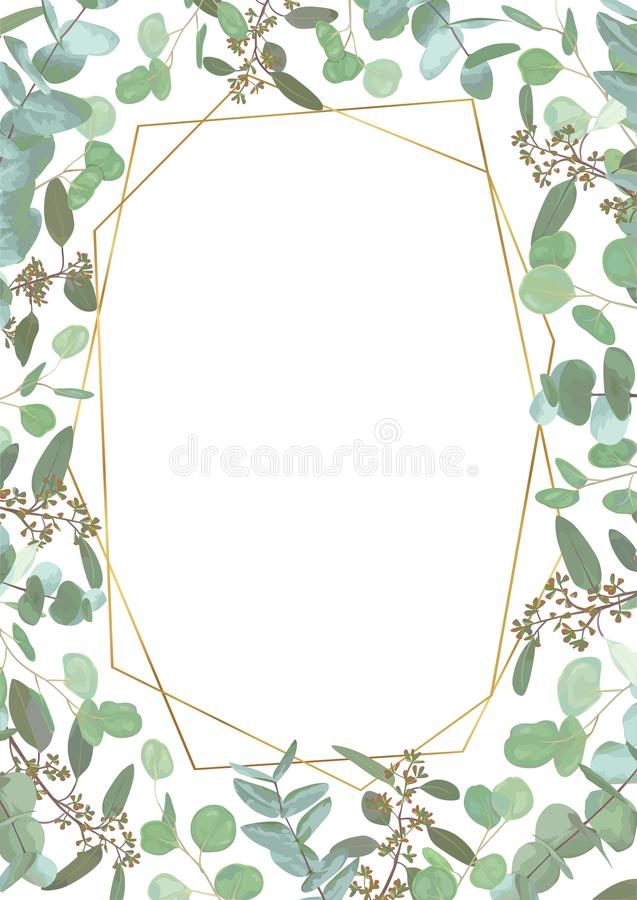 Greeting festive flyer, holiday card, vector. Elegant floral, greenery, semicircle collection. Bouquet of eucalyptus spiral, royalty free stock photos
