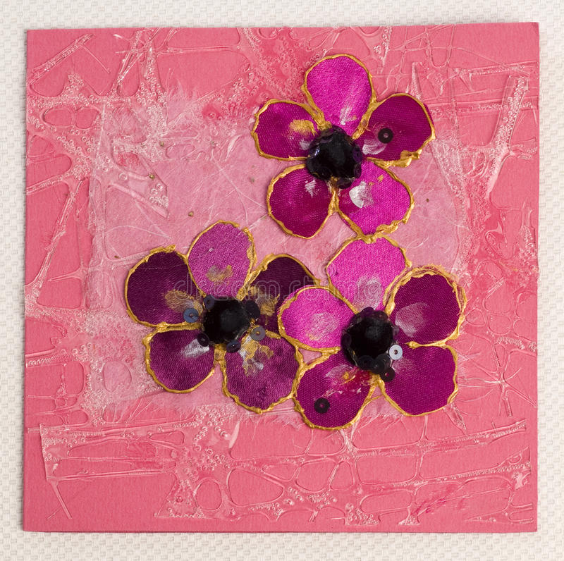 Greeting handmade card. Pink greeting handmade card with flowers royalty free stock images