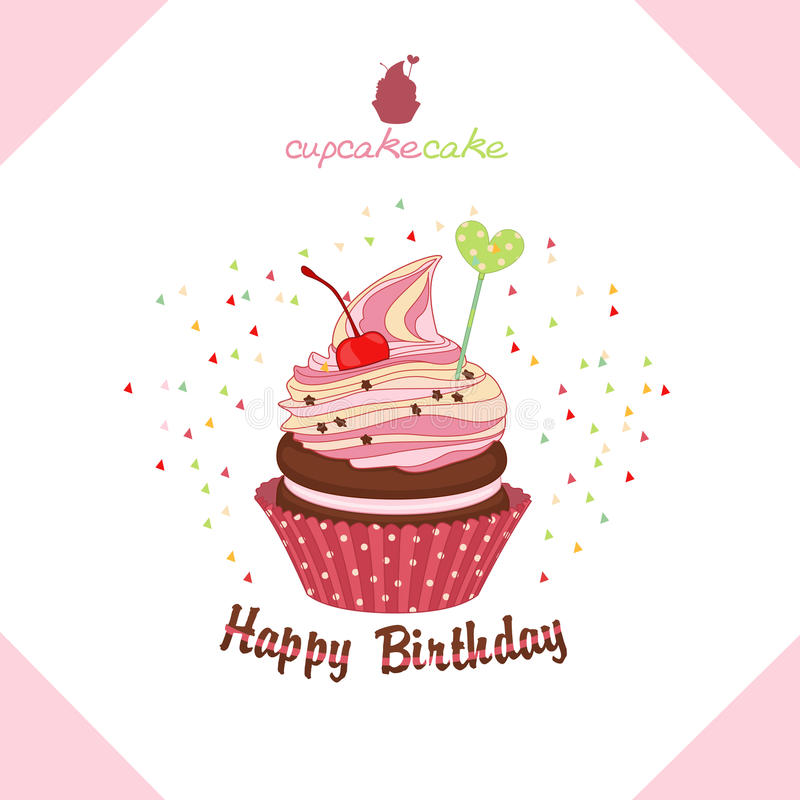 Greeting Happy Birthday Cake-a Cupcake. Vector Stock Vector ...
