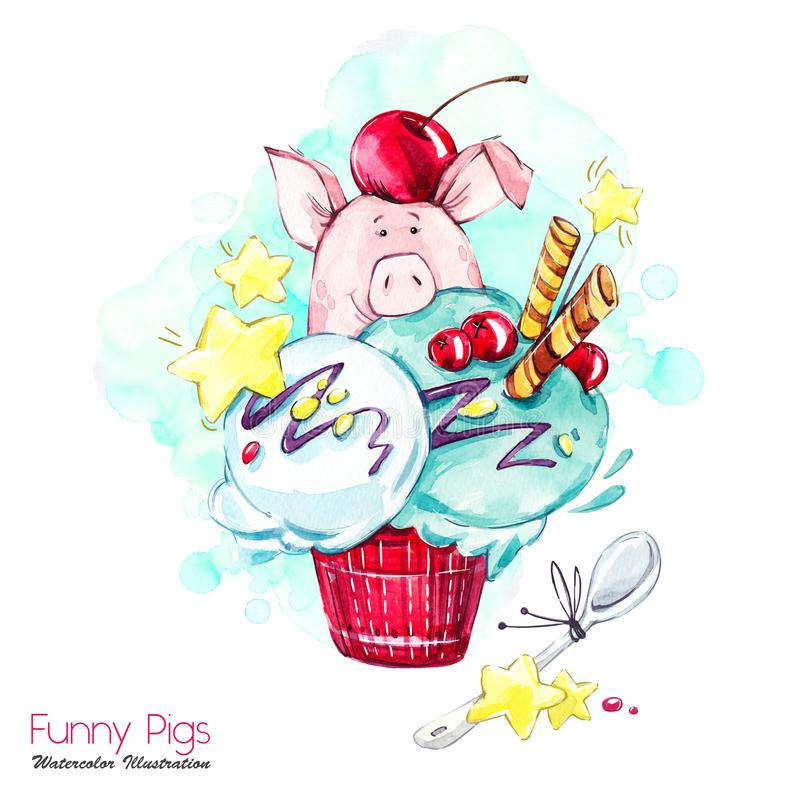 Greeting holidays illustration. Watercolor cartoon pig in ice cream with candies and berries. Funny dessert. Birthday. Symbol. Food. Perfect for T-shirts stock illustration