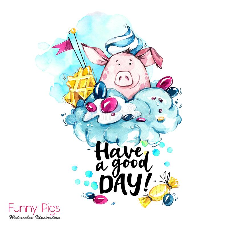 Greeting holidays illustration. Watercolor cartoon pig with lettering and cream. Funny dessert. Party symbol. Gift. Perfect for T-shirts, posters, invitations stock illustration