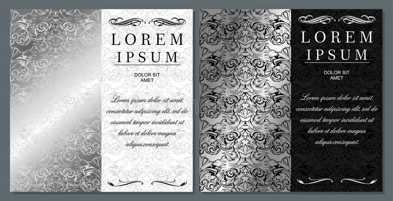 Greeting, invitation, wedding, card in the style of vintage In silver shades vector illustration