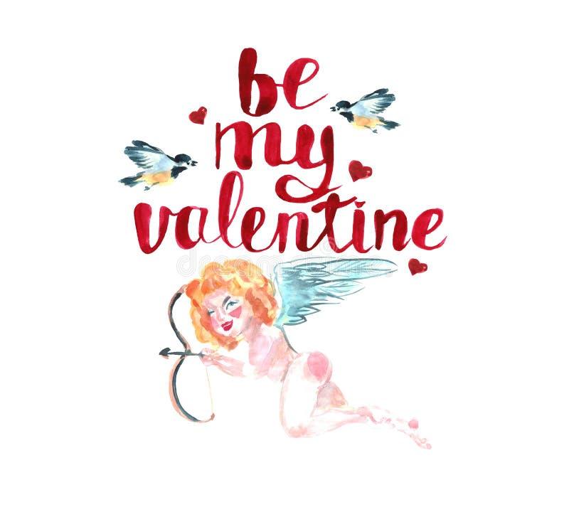 greeting lycklig s valentin för kortdag för flygillustration för näbb dekorativ bild dess paper stycksvalavattenfärg Kupidon med  vektor illustrationer