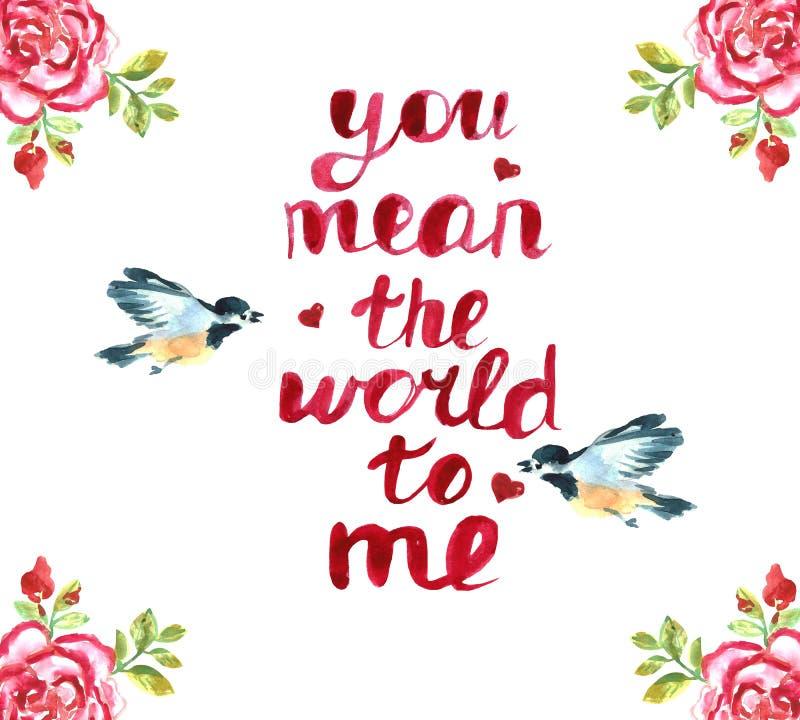 greeting lycklig s valentin för kortdag för flygillustration för näbb dekorativ bild dess paper stycksvalavattenfärg Röda hjärtor vektor illustrationer
