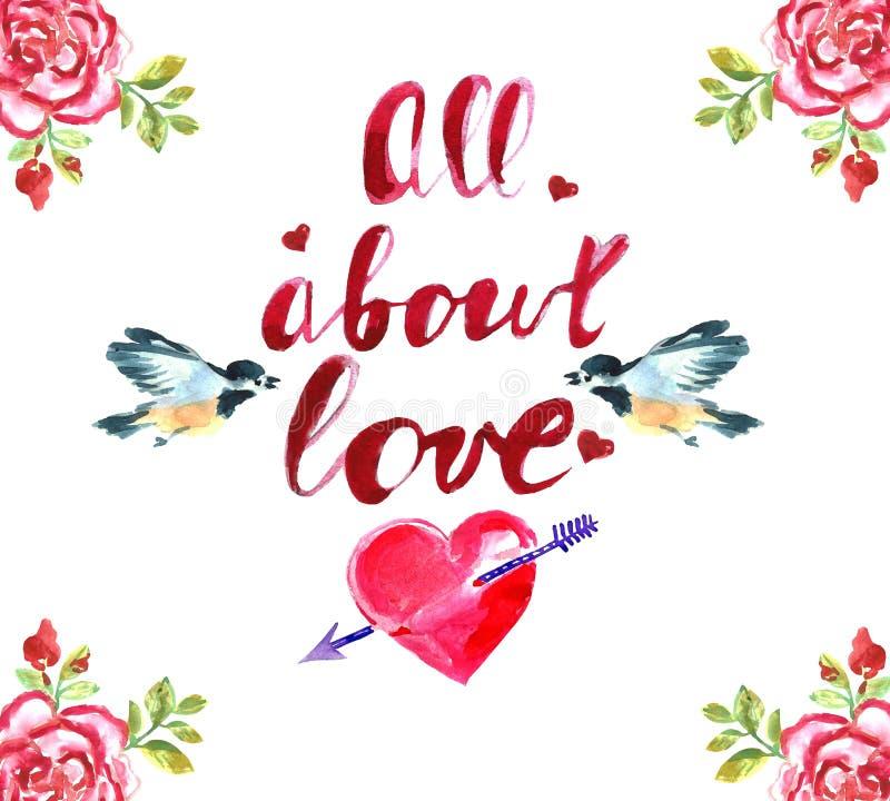 greeting lycklig s valentin för kortdag Röda hjärtor, små fåglar, rosor Skriftlig inskrift för hand all abou royaltyfri illustrationer