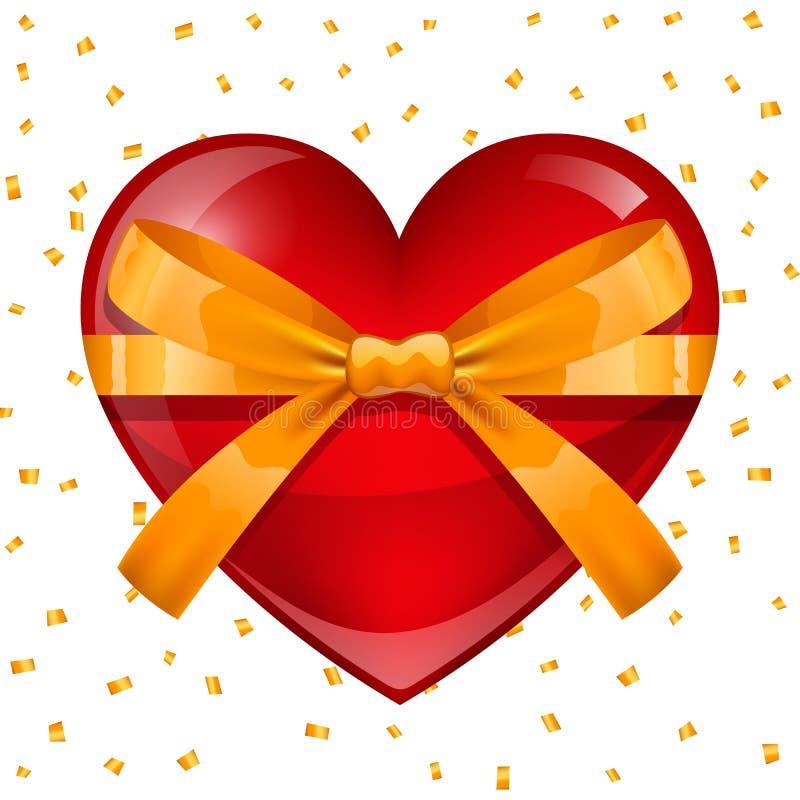 greeting lycklig valentin för kortdag Röd hjärta med bandet stock illustrationer
