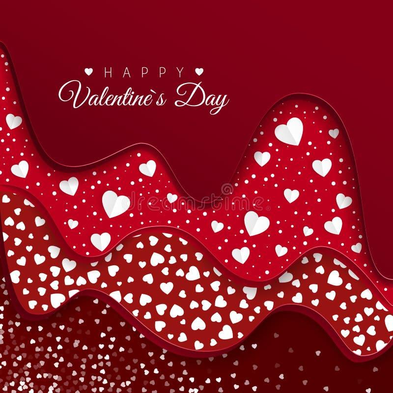 greeting lyckliga valentiner för kortdag Röda lager med olika dekorativa beståndsdelar Pappers- vita hjärtor Romantisk rensa desi royaltyfri illustrationer