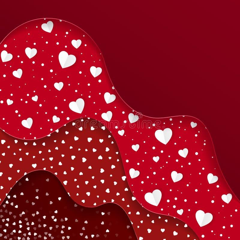 greeting lyckliga valentiner för kortdag Röda lager med olika dekorativa beståndsdelar Romantisk rensa design stock illustrationer