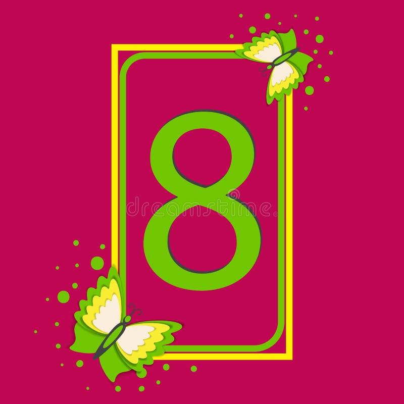 greeting lyckligt nytt år för 2007 kort Internationell mars för dag för kvinna` s 8 Diagram åtta, omfångsrika fjärilar royaltyfri illustrationer