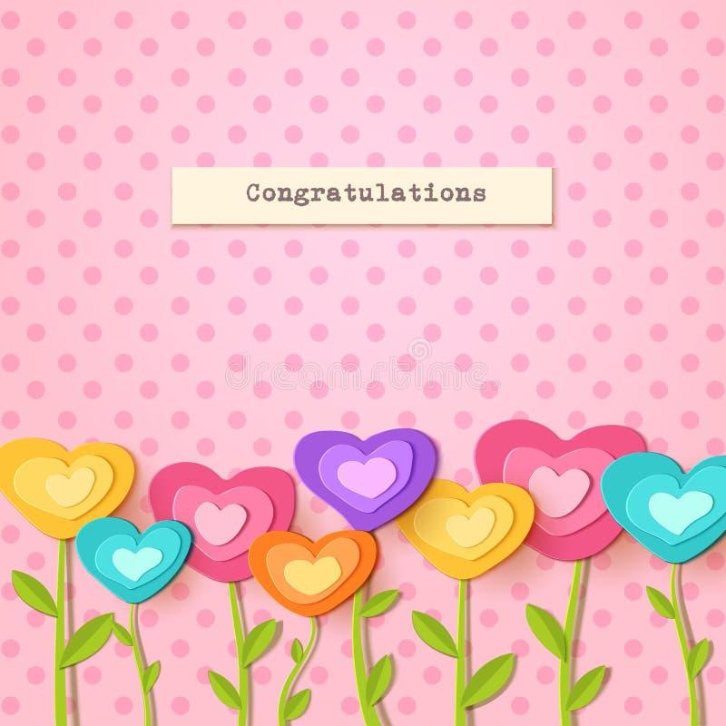 greeting lyckligt nytt år för 2007 kort Pappers- snittblommor i form av hjärta Vektorappliqueillustration Plan festlig blommagarn royaltyfri illustrationer